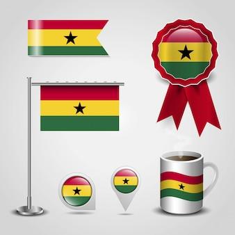 Conjunto de bandeira do país de gana