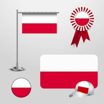 Conjunto de bandeira do país de polónia