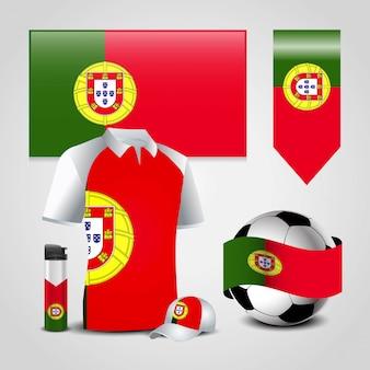 Conjunto de bandeira do país de portugal