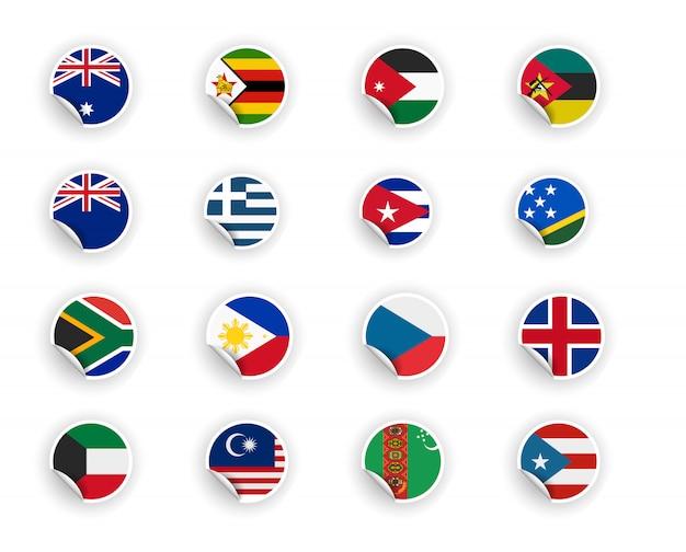 Conjunto de bandeira do país em adesivos