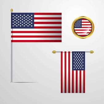 Conjunto de bandeira dos estados unidos da américa