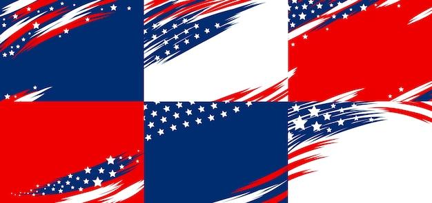Conjunto de bandeira eua abstrato base de bandeira americana