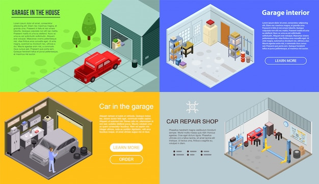 Conjunto de bandeira interior de garagem. conjunto isométrico de banner de vetor interior de garagem para web design