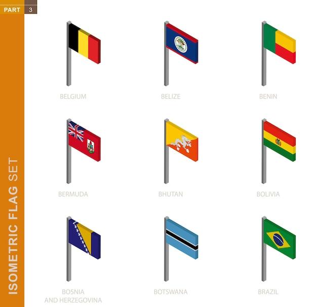Conjunto de bandeira isométrica, mastro na vista isométrica.