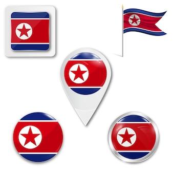 Conjunto de bandeira nacional de ícones da coreia do norte
