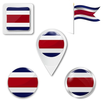 Conjunto de bandeira nacional de ícones da costa rica