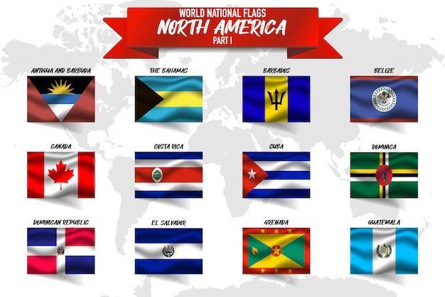 Conjunto de bandeira nacional do país da américa do norte em fundo de mapa do mundo.