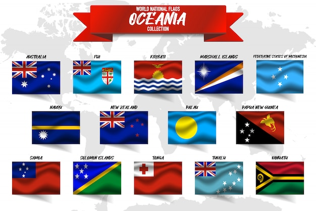 Conjunto de bandeira nacional do país oceania em fundo de mapa do mundo.