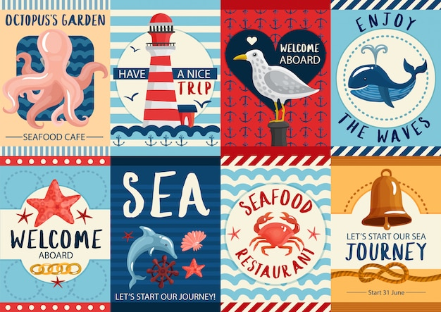 Conjunto de bandeira náutica e conjunto de cartazes