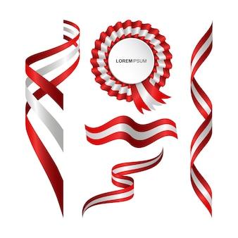 Conjunto de bandeira ondulada abstrata da áustria com estilo de fita