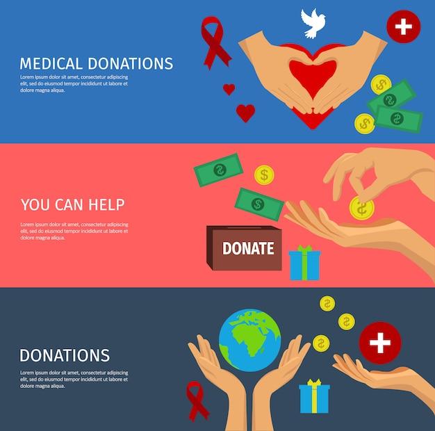 Conjunto de bandeira plana de caridade