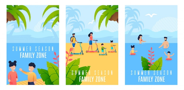 Conjunto de bandeira plana temporada de verão família zona cartoon