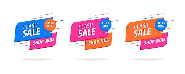 Conjunto de bandeiras abstratas na moda. cartaz de venda em flash e banner.