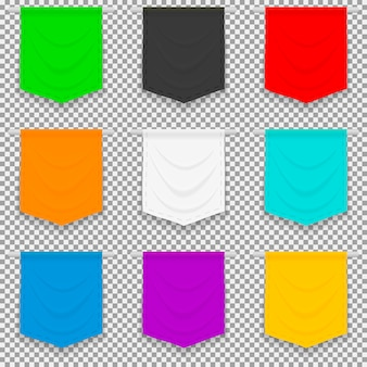 Conjunto de bandeiras brilhantes