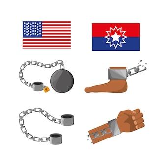 Conjunto de bandeiras, cadeias, pé e mão para celebrar a liberdade