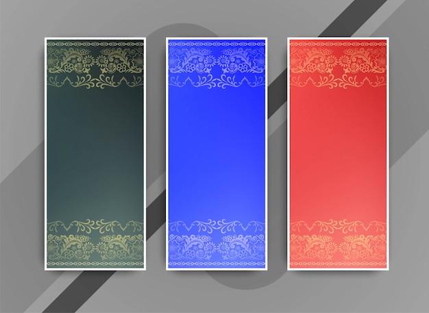 Conjunto de bandeiras coloridas elegantes abstrata