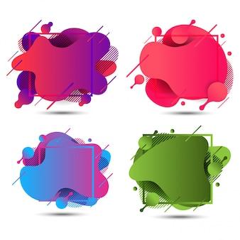 Conjunto de bandeiras coloridas líquido abstrato
