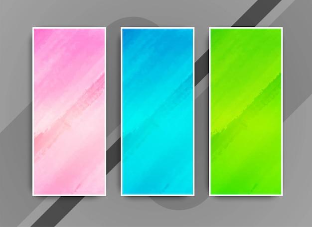 Conjunto de bandeiras coloridas modernas abstratas