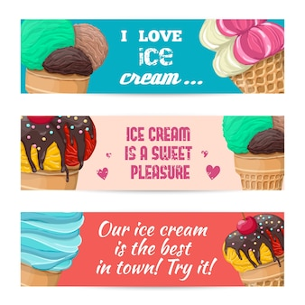 Conjunto de bandeiras com sorvete