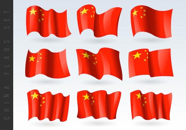 Conjunto de bandeiras da china