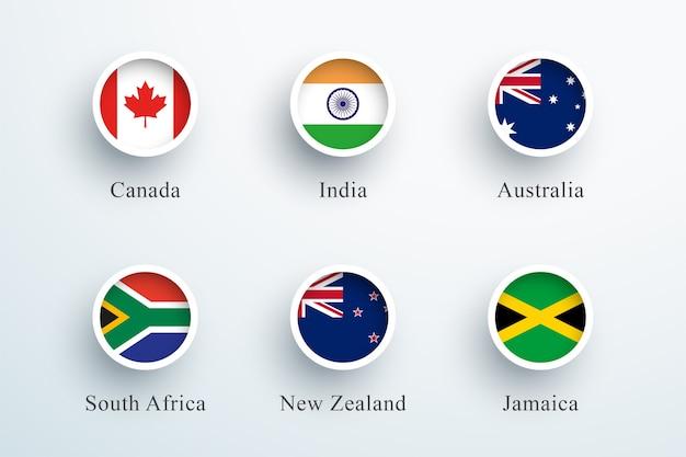 Conjunto de bandeiras da comunidade das nações unidas com ícones redondos de botões 3d