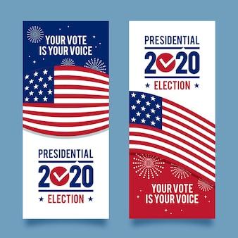 Conjunto de bandeiras da eleição presidencial dos eua em 2020