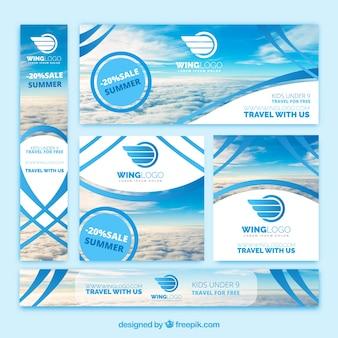 Conjunto de bandeiras de agência de viagens