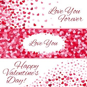 Conjunto de bandeiras de amor de vetor de venda de dia dos namorados