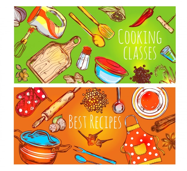Conjunto de bandeiras de aulas de culinária