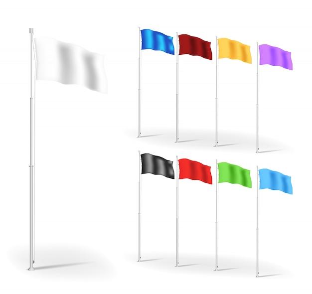 Conjunto de bandeiras de banner de propaganda multicolorida, modelos de ilustração