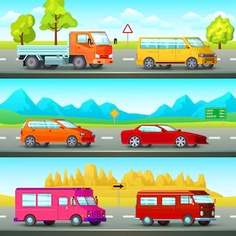Conjunto de bandeiras de carros ortogonais