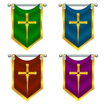 Conjunto de bandeiras de cavaleiro com espada