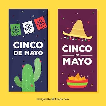Conjunto de bandeiras de cinco de maio com elementos mexicanos