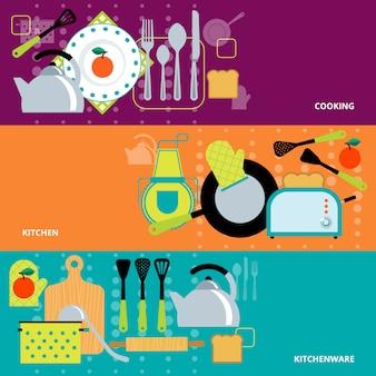 Conjunto de bandeiras de conceito de cozinha