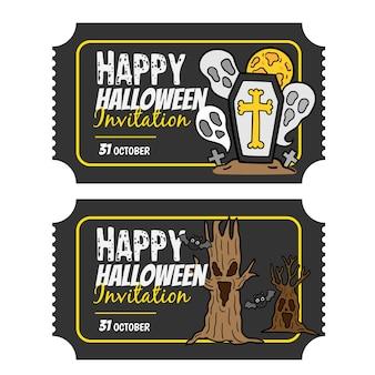 Conjunto de bandeiras de convite feliz dia das bruxas.