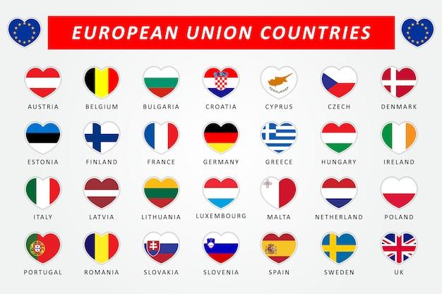 Conjunto de bandeiras de coração de países da união europeia