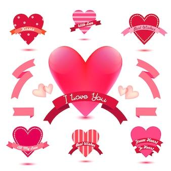 Conjunto de bandeiras de coração, fitas, emblemas de amor, ícones. conjunto vintage para namorados, coleção romântica, casamento