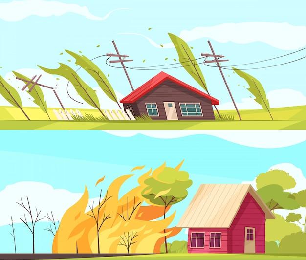 Conjunto de bandeiras de desastres naturais com casas vivas