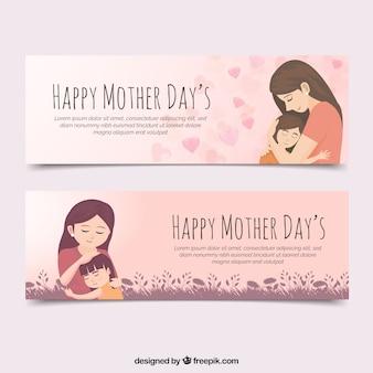 Conjunto de bandeiras de dia das mães com a família feliz