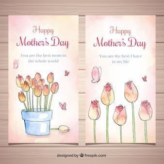 Conjunto de bandeiras de dia das mães com flores em aquarela