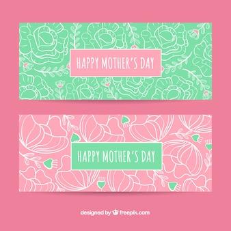 Conjunto de bandeiras de dia das mães com flores
