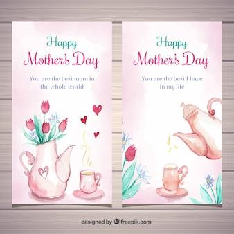 Conjunto de bandeiras de dia das mães em estilo aquarela