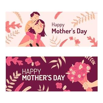Conjunto de bandeiras de dia das mães mão desenhada
