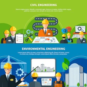 Conjunto de bandeiras de engenharia civil