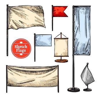 Conjunto de bandeiras de esboço