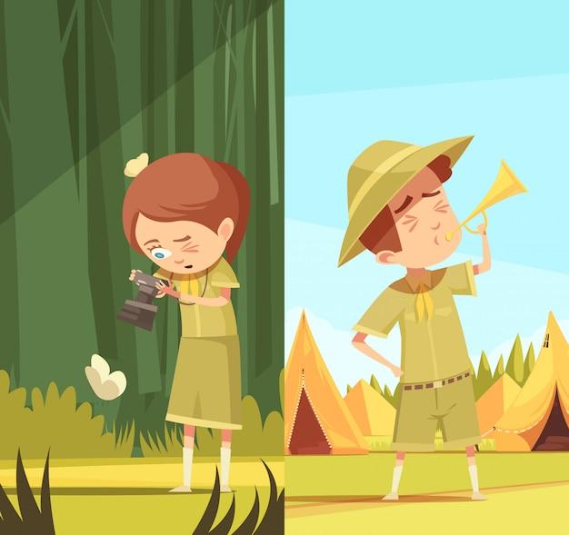 Conjunto de bandeiras de escoteiros atividades dos desenhos animados