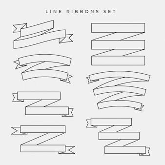 Conjunto de bandeiras de fita de linha plana