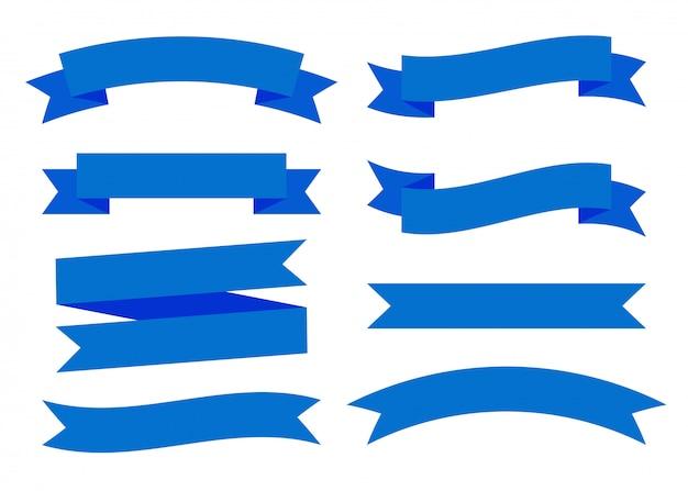 Conjunto de bandeiras de fitas azuis planas isolado