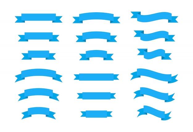 Conjunto de bandeiras de fitas azuis