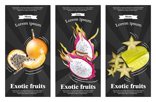 Conjunto de bandeiras de frutas exóticas